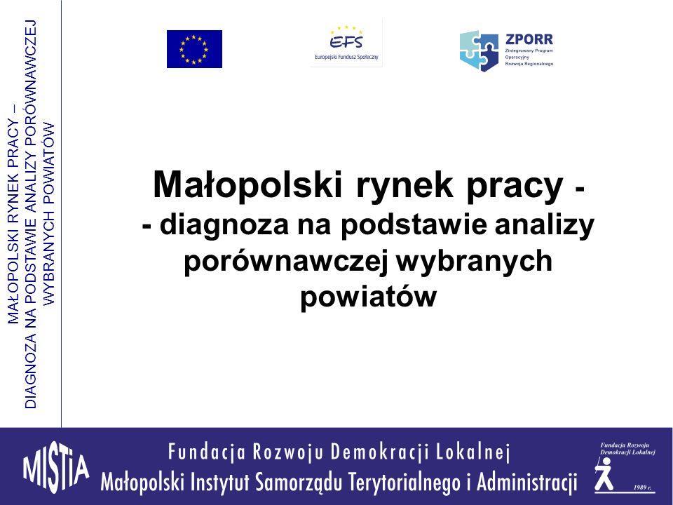 MAŁOPOLSKI RYNEK PRACY – DIAGNOZA NA PODSTAWIE ANALIZY PORÓWNAWCZEJ WYBRANYCH POWIATÓW Małopolski rynek pracy - - diagnoza na podstawie analizy porównawczej wybranych powiatów