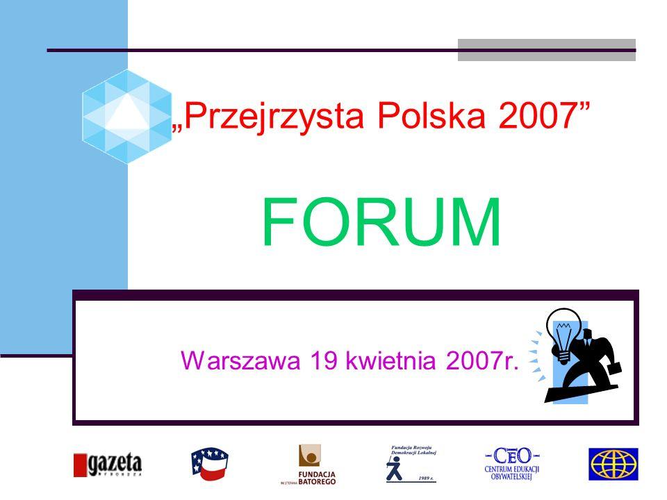 Przejrzysta Polska 2007 FORUM Warszawa 19 kwietnia 2007r.