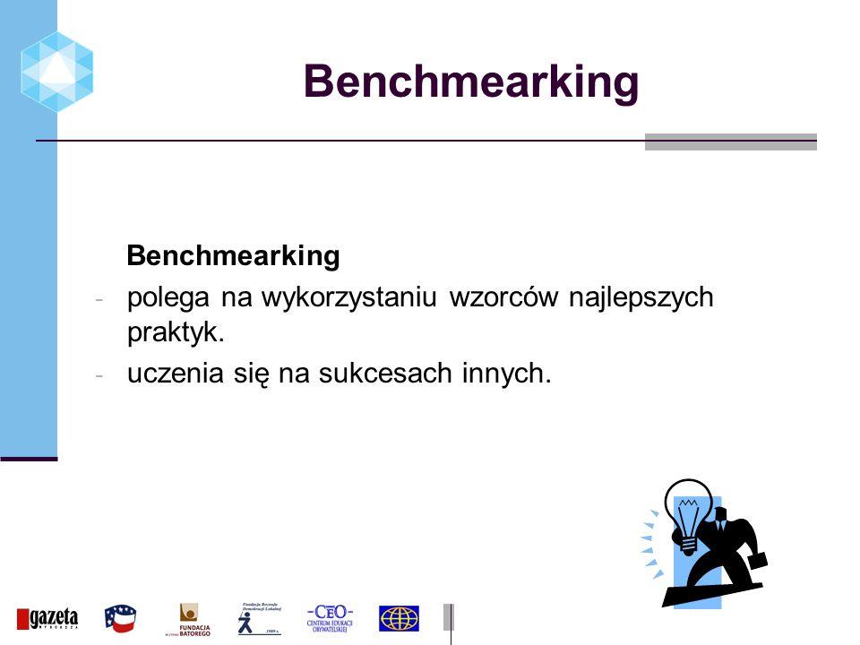 Benchmearking - polega na wykorzystaniu wzorców najlepszych praktyk.