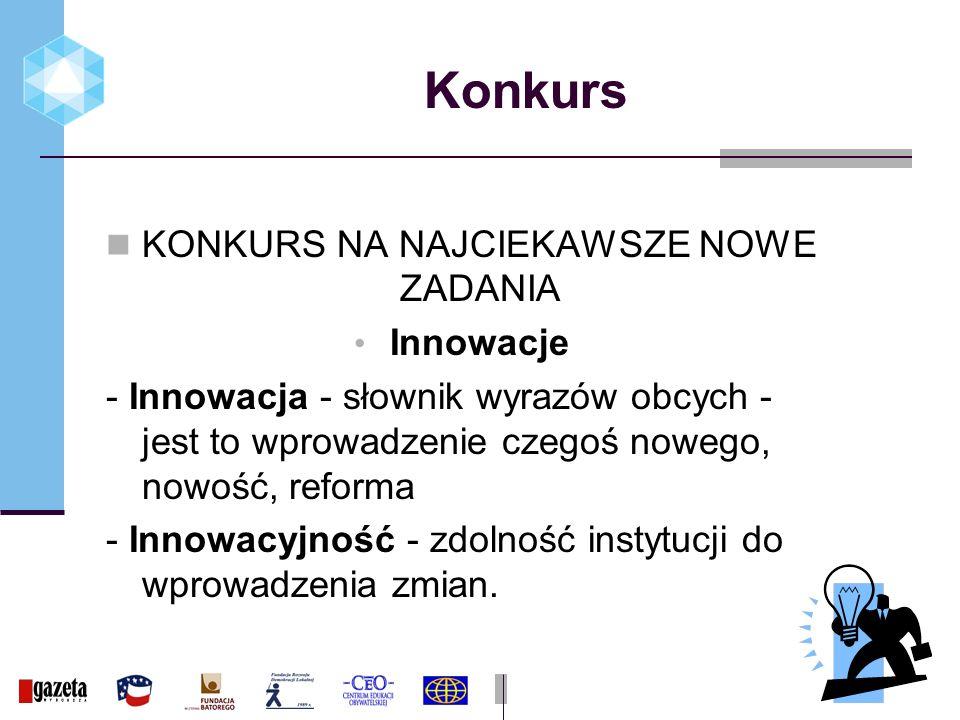 Konkurs KONKURS NA NAJCIEKAWSZE NOWE ZADANIA Innowacje - Innowacja - słownik wyrazów obcych - jest to wprowadzenie czegoś nowego, nowość, reforma - Innowacyjność - zdolność instytucji do wprowadzenia zmian.
