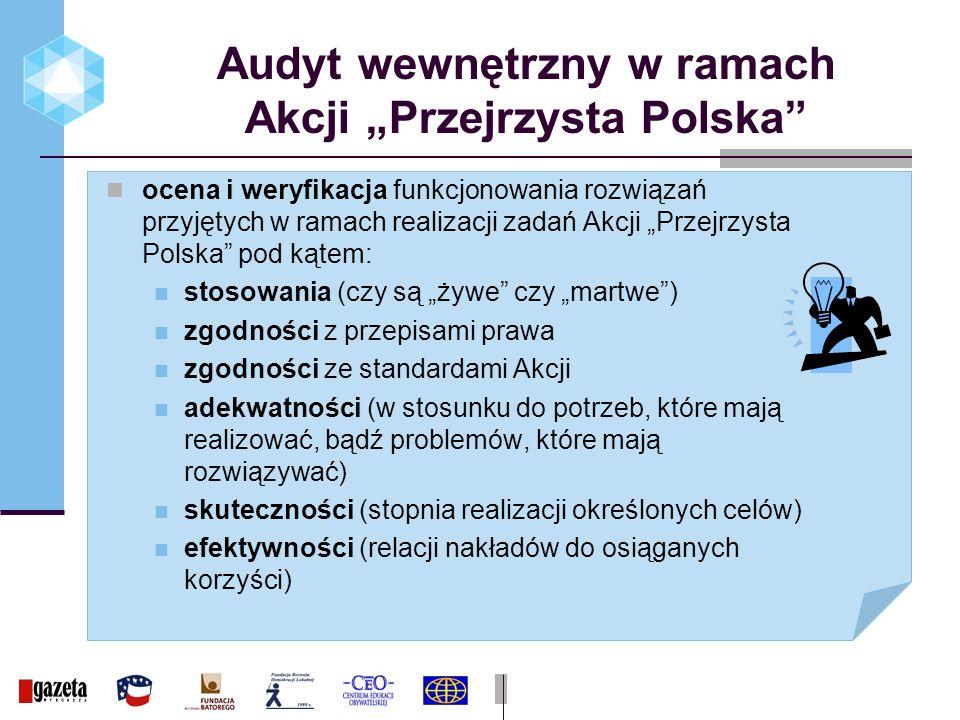 Audyt wewnętrzny w ramach Akcji Przejrzysta Polska ocena i weryfikacja funkcjonowania rozwiązań przyjętych w ramach realizacji zadań Akcji Przejrzysta Polska pod kątem: stosowania (czy są żywe czy martwe) zgodności z przepisami prawa zgodności ze standardami Akcji adekwatności (w stosunku do potrzeb, które mają realizować, bądź problemów, które mają rozwiązywać) skuteczności (stopnia realizacji określonych celów) efektywności (relacji nakładów do osiąganych korzyści)