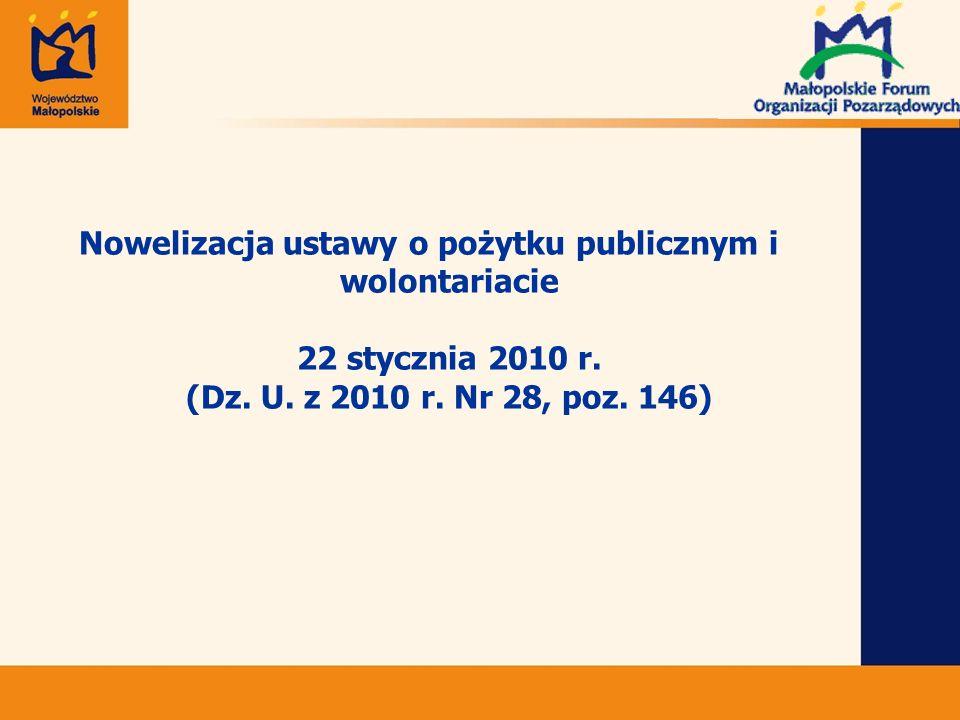 Nowelizacja ustawy o pożytku publicznym i wolontariacie 22 stycznia 2010 r.
