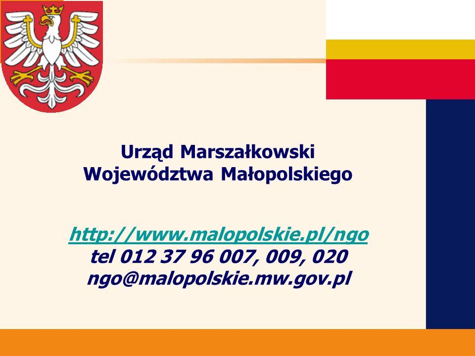 Urząd Marszałkowski Województwa Małopolskiego http://www.malopolskie.pl/ngo tel 012 37 96 007, 009, 020 ngo@malopolskie.mw.gov.pl http://www.malopolskie.pl/ngo