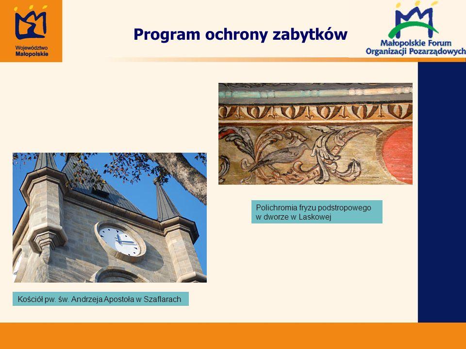 Polichromia fryzu podstropowego w dworze w Laskowej Kościół pw.