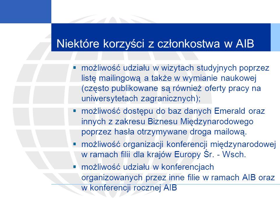 Niektóre korzyści z członkostwa w AIB możliwość udziału w wizytach studyjnych poprzez listę mailingową a także w wymianie naukowej (często publikowane są również oferty pracy na uniwersytetach zagranicznych); możliwość dostępu do baz danych Emerald oraz innych z zakresu Biznesu Międzynarodowego poprzez hasła otrzymywane droga mailową.