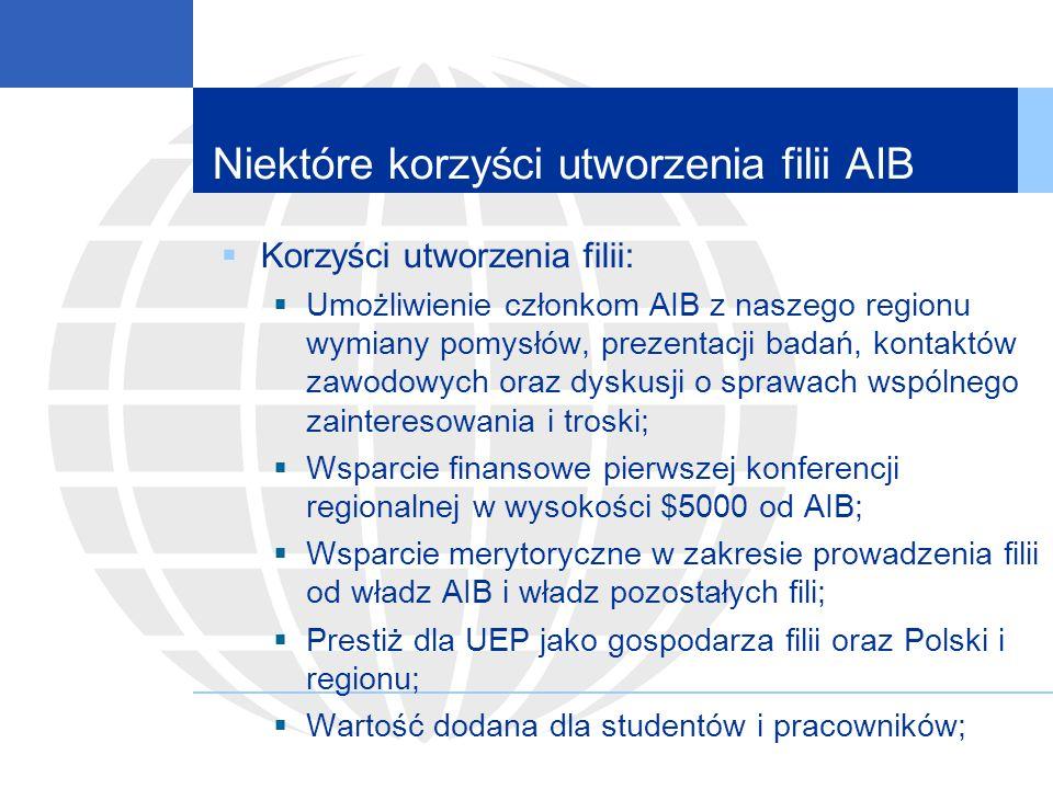 Niektóre korzyści utworzenia filii AIB Korzyści utworzenia filii: Umożliwienie członkom AIB z naszego regionu wymiany pomysłów, prezentacji badań, kontaktów zawodowych oraz dyskusji o sprawach wspólnego zainteresowania i troski; Wsparcie finansowe pierwszej konferencji regionalnej w wysokości $5000 od AIB; Wsparcie merytoryczne w zakresie prowadzenia filii od władz AIB i władz pozostałych fili; Prestiż dla UEP jako gospodarza filii oraz Polski i regionu; Wartość dodana dla studentów i pracowników;
