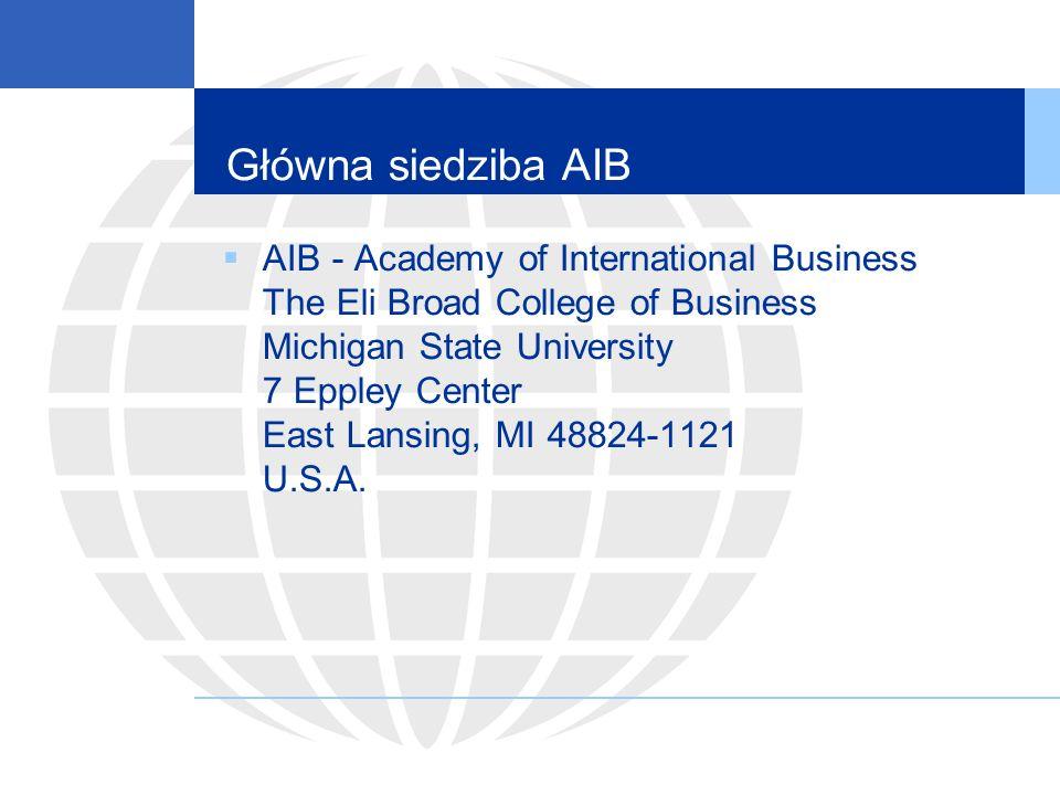 Kilka słów o AIB Najbliższa światowa konferencja w Waszyngtonie w czerwcu 2012 roku Termin przesyłania artykułów – 16 stycznia 2012 http://aib.msu.edu/events/2012/ Do AIB należy 3125 osób z 78 krajów Najwięcej członków organizacji jest z USA (1133), Japonii (260) i Wielkiej Brytanii (246)