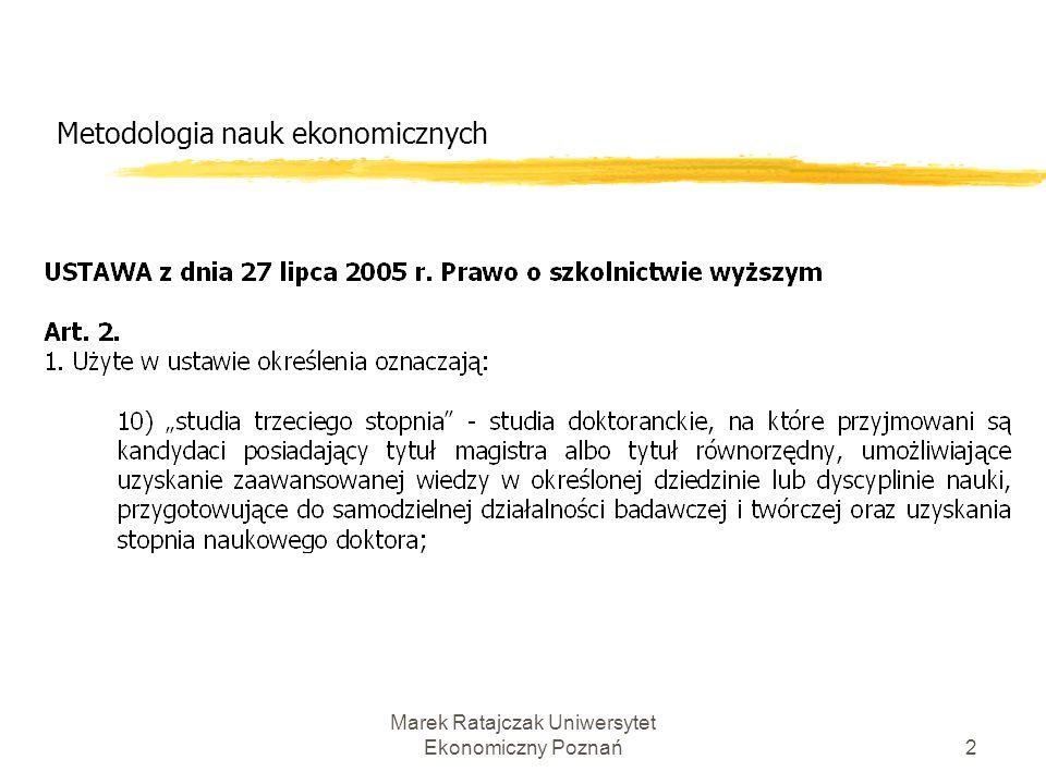 Metodologia nauk ekonomicznych Marek Ratajczak