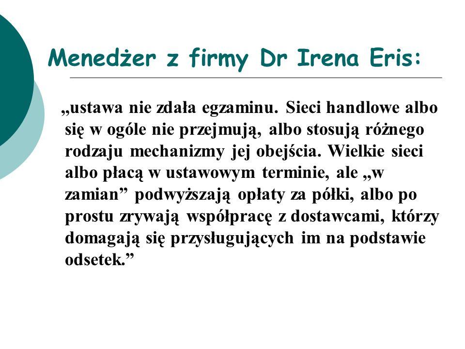 Menedżer z firmy Dr Irena Eris:,,ustawa nie zdała egzaminu. Sieci handlowe albo się w ogóle nie przejmują, albo stosują różnego rodzaju mechanizmy jej
