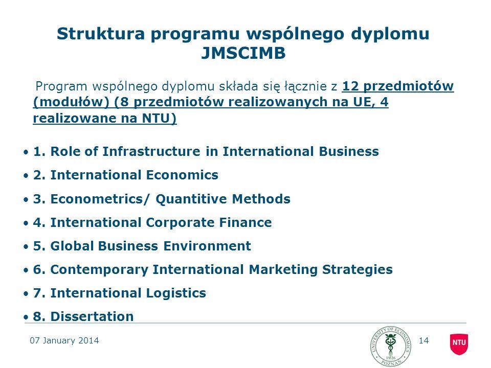 07 January 201414 Struktura programu wspólnego dyplomu JMSCIMB Program wspólnego dyplomu składa się łącznie z 12 przedmiotów (modułów) (8 przedmiotów