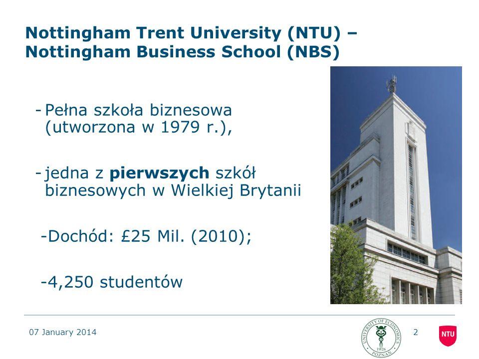 07 January 201413 INFORMACJA O PROGRAMIE WSPÓLNEGO DYPLOMU Z NOTTINGHAM TRENT UNIVERSITY (NTU) (WIELKA BRYTANIA) Celem projektu jest przygotowanie wspólnego międzynarodowego programu II stopnia studiów stacjonarnych magisterskich, dla specjalności Biznes Międzynarodowy – Joint Master of Science in International Business and Management (JMScIBM), z Nottingham Trent University (NTU) (Nottingham Business School) z Wielkiej Brytanii.