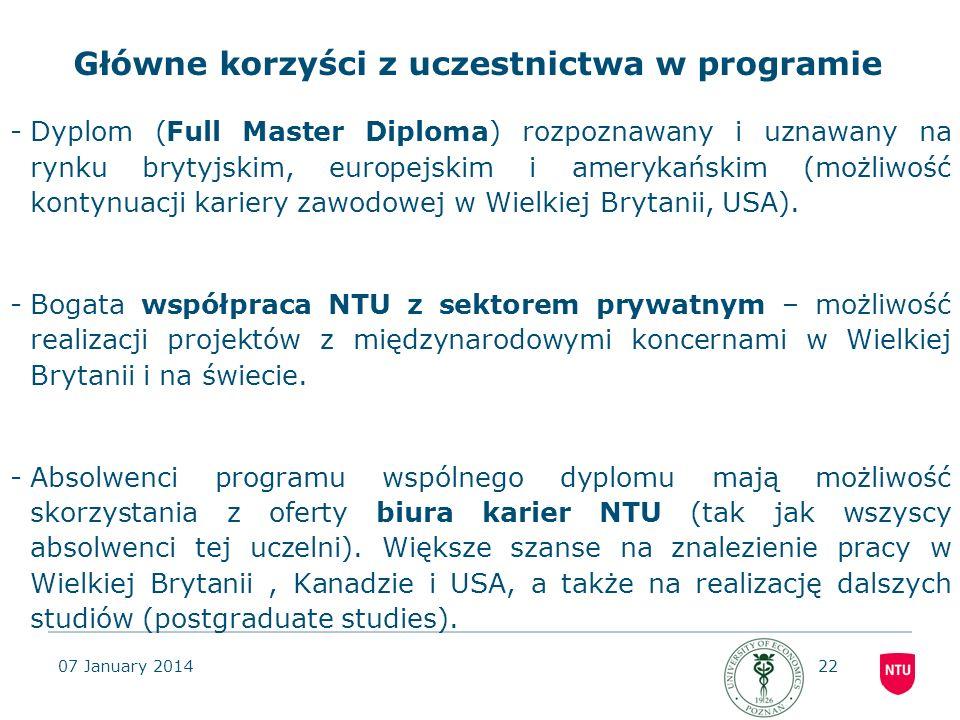 07 January 201422 Główne korzyści z uczestnictwa w programie -Dyplom (Full Master Diploma) rozpoznawany i uznawany na rynku brytyjskim, europejskim i
