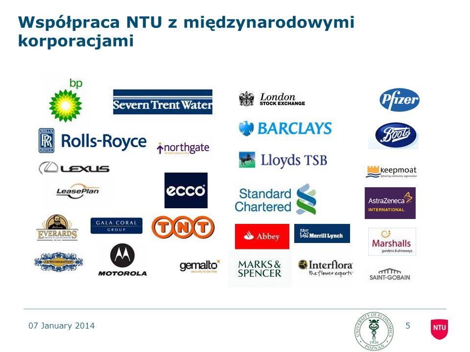 07 January 20145 Współpraca NTU z międzynarodowymi korporacjami