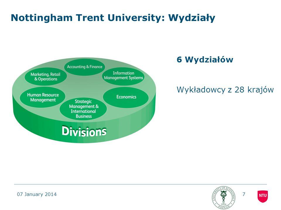 07 January 20147 Nottingham Trent University: Wydziały 6 Wydziałów Wykładowcy z 28 krajów
