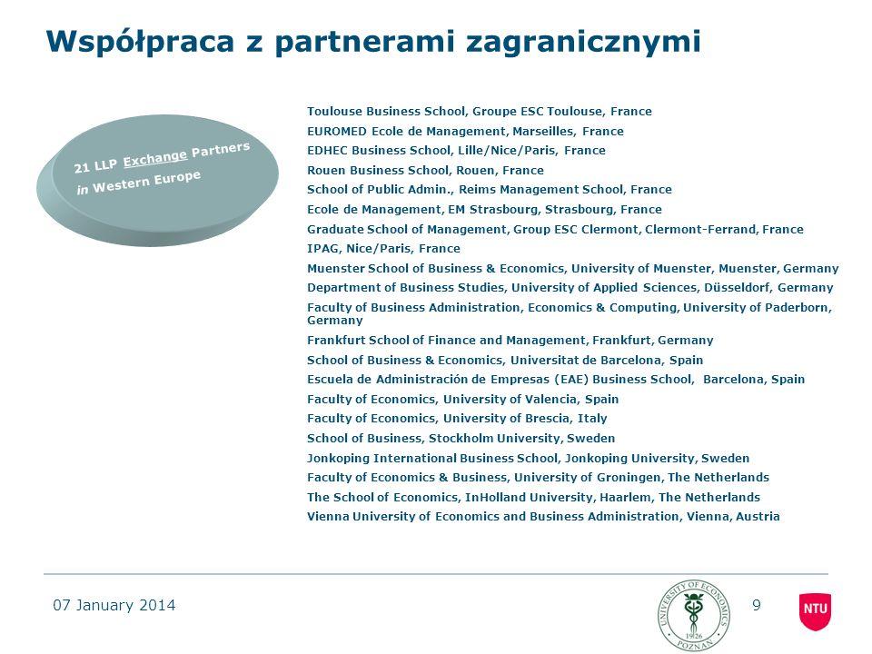 07 January 201420 Warunki uczestnictwa w programie wspólnego dyplomu JMSCIBM -Studenci pozostałych specjalności Wydziału Gospodarki Międzynarodowej: Studia Europejskie, Logistyka Międzynarodowa mogą również wziąć udział w programie wspólnego dyplomu pod warunkiem zaliczenia na I roku studiów II stopnia 8 przedmiotów: Infrastruktura jako uwarunkowanie i przedmiot współpracy międzynarodowej; Międzynarodowe stosunki gospodarcze II, Finanse międzynarodowe przedsiębiorstw; Podstawy ekonometrii, Logistyka międzynarodowa; Współczesne strategie marketingowe na rynkach zagranicznych; Globalizacja i regionalizacja w gospodarce światowej; Seminarium magisterskie.