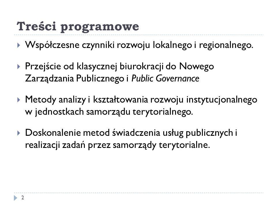 Treści programowe Współczesne czynniki rozwoju lokalnego i regionalnego. Przejście od klasycznej biurokracji do Nowego Zarządzania Publicznego i Publi