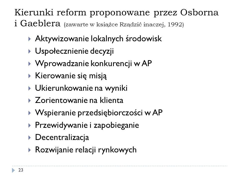 Kierunki reform proponowane przez Osborna i Gaeblera (zawarte w książce Rządzić inaczej, 1992) 23 Aktywizowanie lokalnych środowisk Uspołecznienie dec