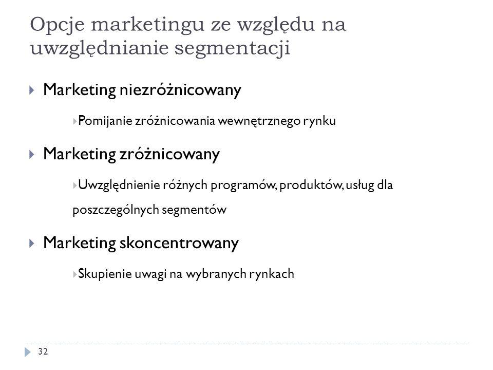 Opcje marketingu ze względu na uwzględnianie segmentacji Marketing niezróżnicowany Pomijanie zróżnicowania wewnętrznego rynku Marketing zróżnicowany U