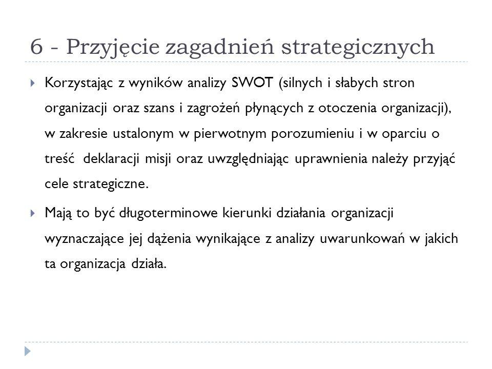 6 - Przyjęcie zagadnień strategicznych Korzystając z wyników analizy SWOT (silnych i słabych stron organizacji oraz szans i zagrożeń płynących z otocz