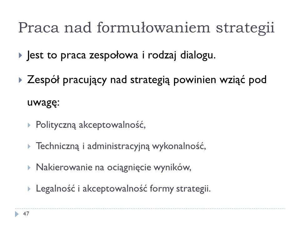 Praca nad formułowaniem strategii Jest to praca zespołowa i rodzaj dialogu. Zespół pracujący nad strategią powinien wziąć pod uwagę: Polityczną akcept