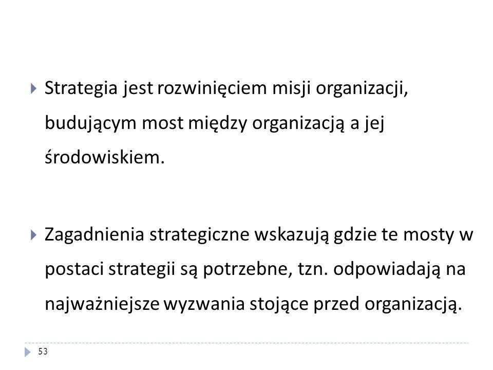 Strategia jest rozwinięciem misji organizacji, budującym most między organizacją a jej środowiskiem. Zagadnienia strategiczne wskazują gdzie te mosty