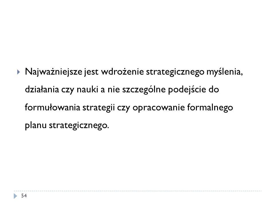 Najważniejsze jest wdrożenie strategicznego myślenia, działania czy nauki a nie szczególne podejście do formułowania strategii czy opracowanie formaln