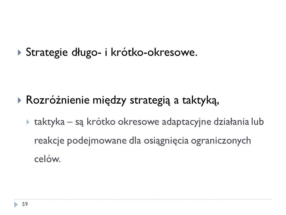 Strategie długo- i krótko-okresowe. Rozróżnienie między strategią a taktyką, taktyka – są krótko okresowe adaptacyjne działania lub reakcje podejmowan