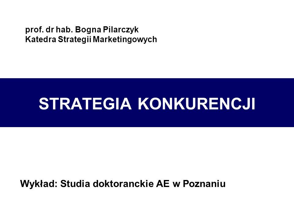prof. dr hab. Bogna Pilarczyk Katedra Strategii Marketingowych STRATEGIA KONKURENCJI Wykład: Studia doktoranckie AE w Poznaniu