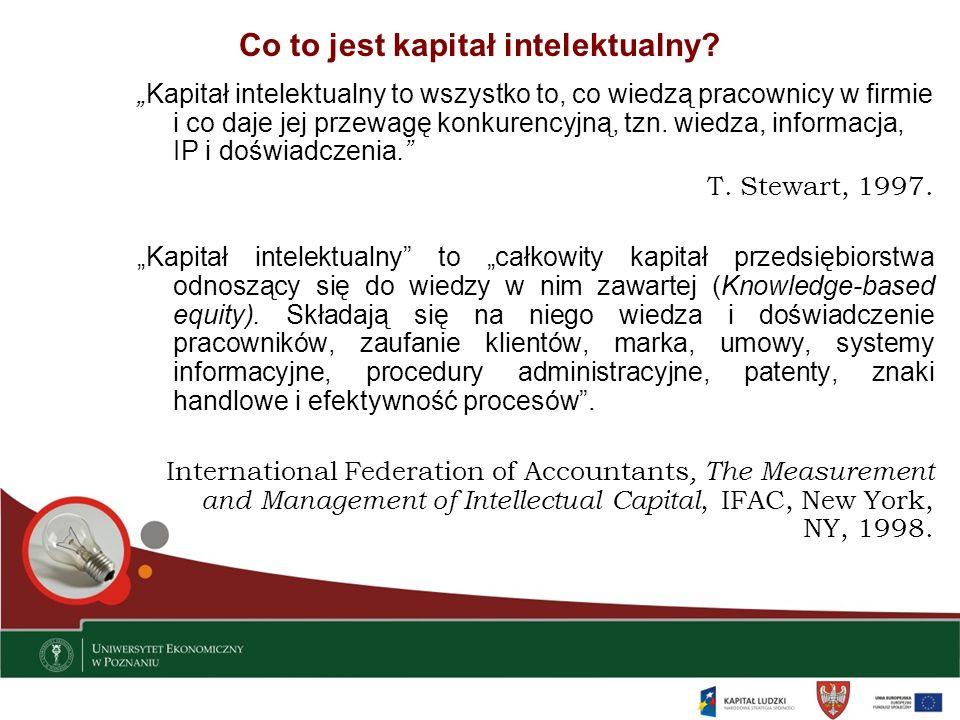 Co to jest kapitał intelektualny? Kapitał intelektualny to wszystko to, co wiedzą pracownicy w firmie i co daje jej przewagę konkurencyjną, tzn. wiedz