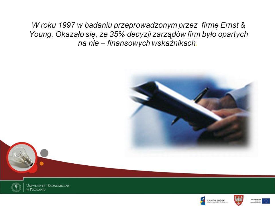 W roku 1997 w badaniu przeprowadzonym przez firmę Ernst & Young. Okazało się, że 35% decyzji zarządów firm było opartych na nie – finansowych wskaźnik