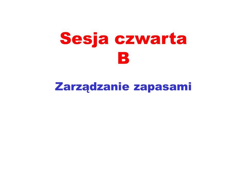 Sesja czwarta B Zarządzanie zapasami