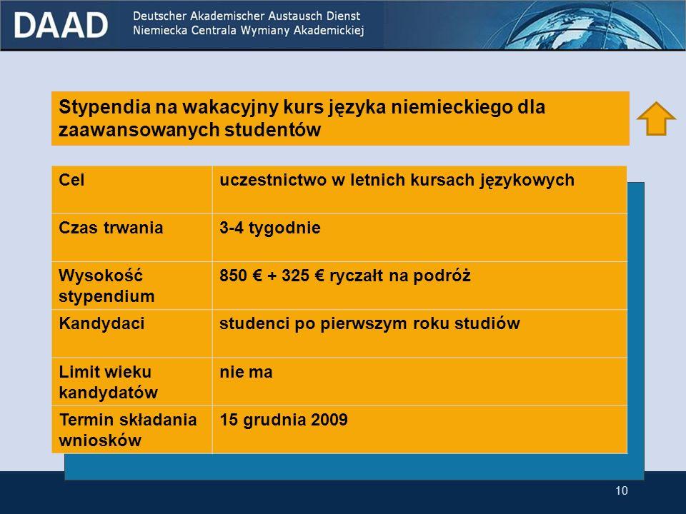 9 Stypendia na wakacyjny kurs języka niemieckiego dla zaawansowanych studentów przynależących do niemieckiej mniejszości narodowej w Polsce Stypendia na wakacyjny kurs języka niemieckiego dla zaawansowanych studentów Stypendia na podróże grupowe do Niemiec dla polskich grup studenckich 3.1 Stypendia dla studentów