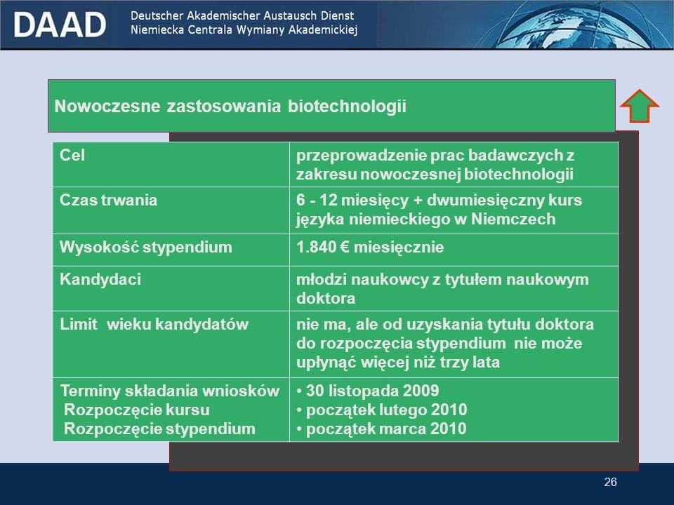 Powtórne stypendium dla byłych stypendystów DAAD Celutrzymywanie kontaktów z niemieckimi naukowcami poprzez krótkie pobyty badawcze w Niemczech Czas trwania1-3 miesięcy Wysokość stypendium 1.840 miesięcznie (postdoc, adiunkt, docent) 1.990 miesięcznie (profesor ) Kandydacibyli roczni stypendyści DAAD oraz stypendyści, którzy co najmniej rok studiowali w byłej NRD Limit wieku kandydatów nie ma, ale kandydaci muszą być zatrudnieni w szkołach wyższych lub instytutach naukowych Terminy składania wniosków 10 stycznia 2010 25