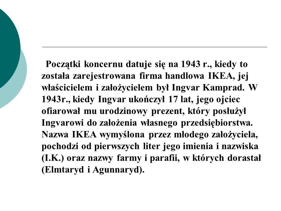 Początki koncernu datuje się na 1943 r., kiedy to została zarejestrowana firma handlowa IKEA, jej właścicielem i założycielem był Ingvar Kamprad. W 19