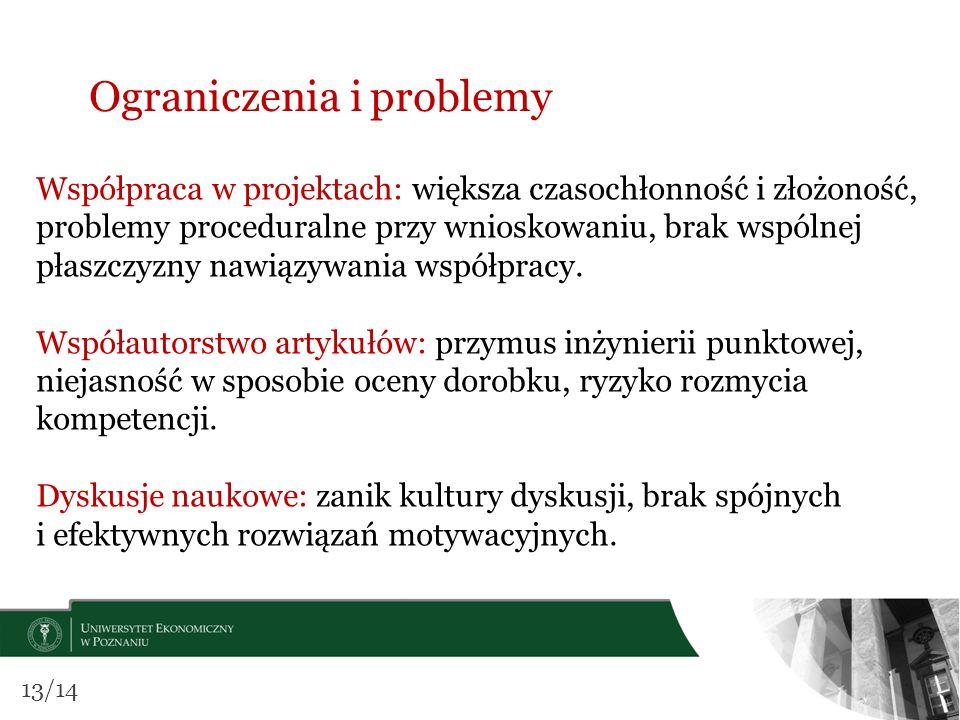 Ograniczenia i problemy Współpraca w projektach: większa czasochłonność i złożoność, problemy proceduralne przy wnioskowaniu, brak wspólnej płaszczyzn