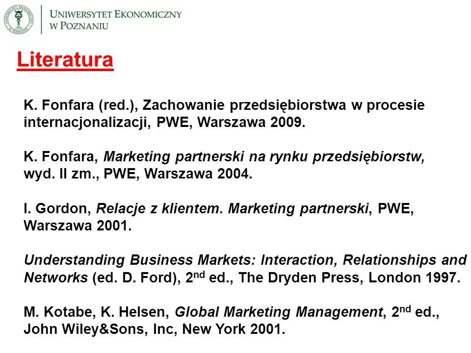 Literatura K. Fonfara (red.), Zachowanie przedsiębiorstwa w procesie internacjonalizacji, PWE, Warszawa 2009. K. Fonfara, Marketing partnerski na rynk