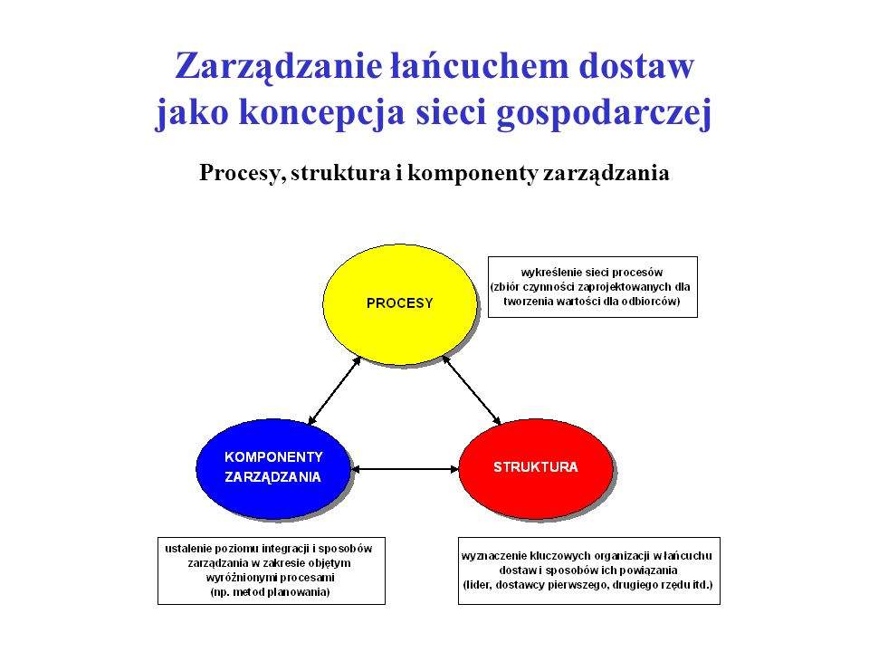 Zarządzanie łańcuchem dostaw jako koncepcja sieci gospodarczej Procesy, struktura i komponenty zarządzania