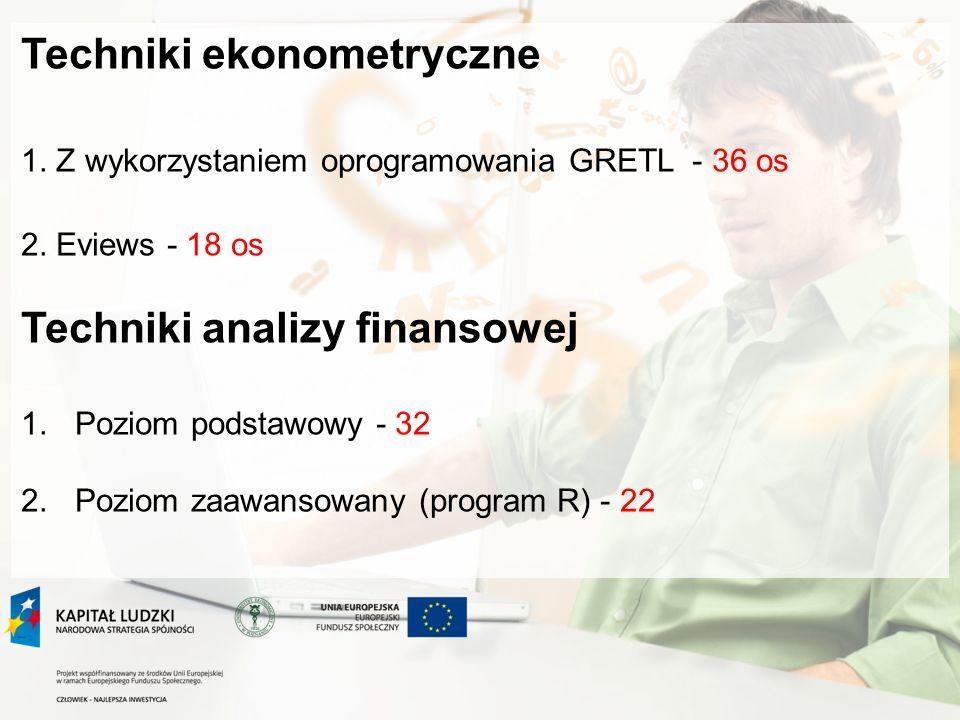 Techniki ekonometryczne 1.Z wykorzystaniem oprogramowania GRETL - 36 os 2.