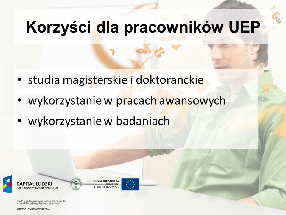 Korzyści dla pracowników UEP studia magisterskie i doktoranckie wykorzystanie w pracach awansowych wykorzystanie w badaniach