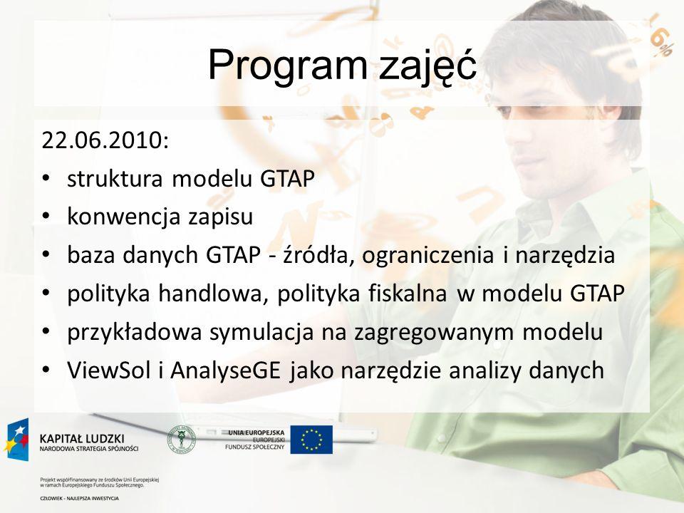 Program zajęć 22.06.2010: struktura modelu GTAP konwencja zapisu baza danych GTAP - źródła, ograniczenia i narzędzia polityka handlowa, polityka fiskalna w modelu GTAP przykładowa symulacja na zagregowanym modelu ViewSol i AnalyseGE jako narzędzie analizy danych