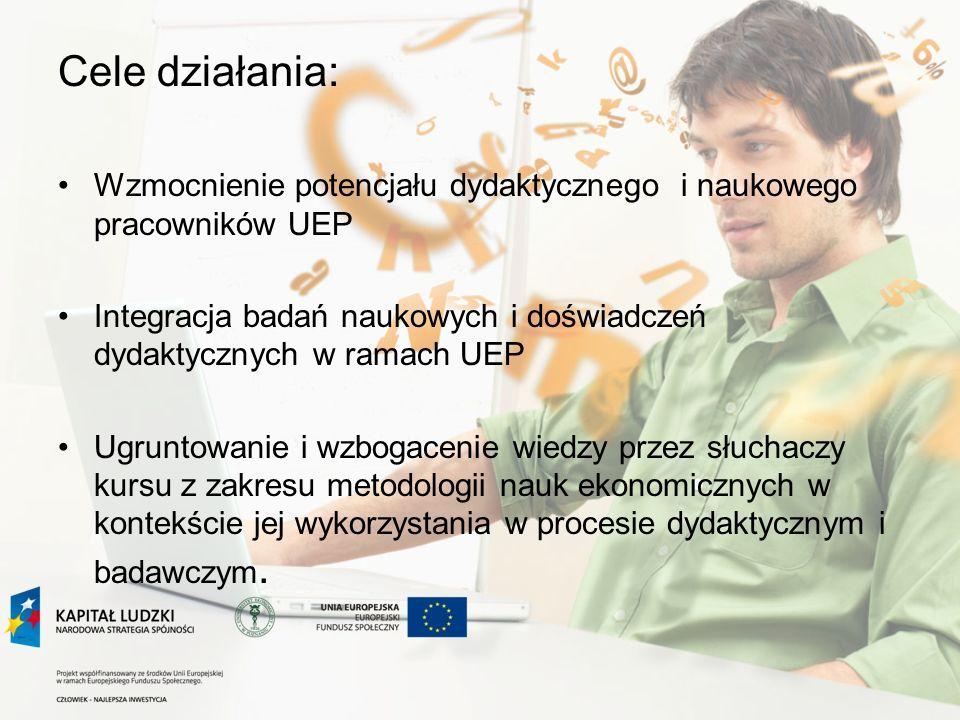 Cele działania (c.d.) : Przygotowanie doktorantów UEP do szybszego otwarcia przewodu doktorskiego Poprawa przepływu informacji w ramach UEP odnośnie prowadzonych badań naukowych Wzmocnienie pozycji konkurencyjnej UEP na rynku edukacyjnym