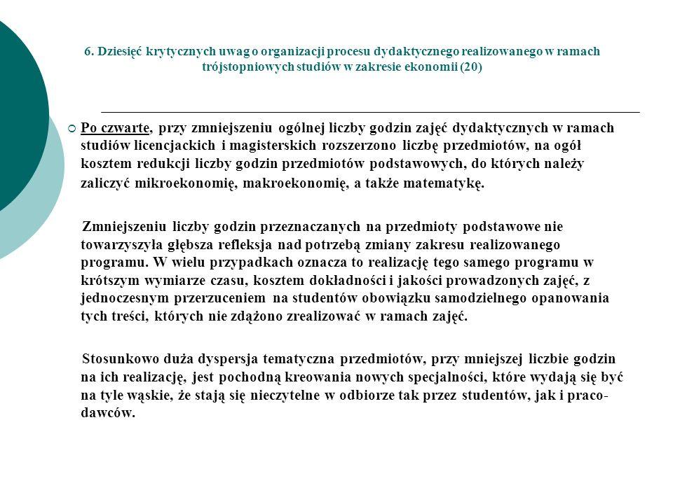 6. Dziesięć krytycznych uwag o organizacji procesu dydaktycznego realizowanego w ramach trójstopniowych studiów w zakresie ekonomii (20) Po czwarte, p