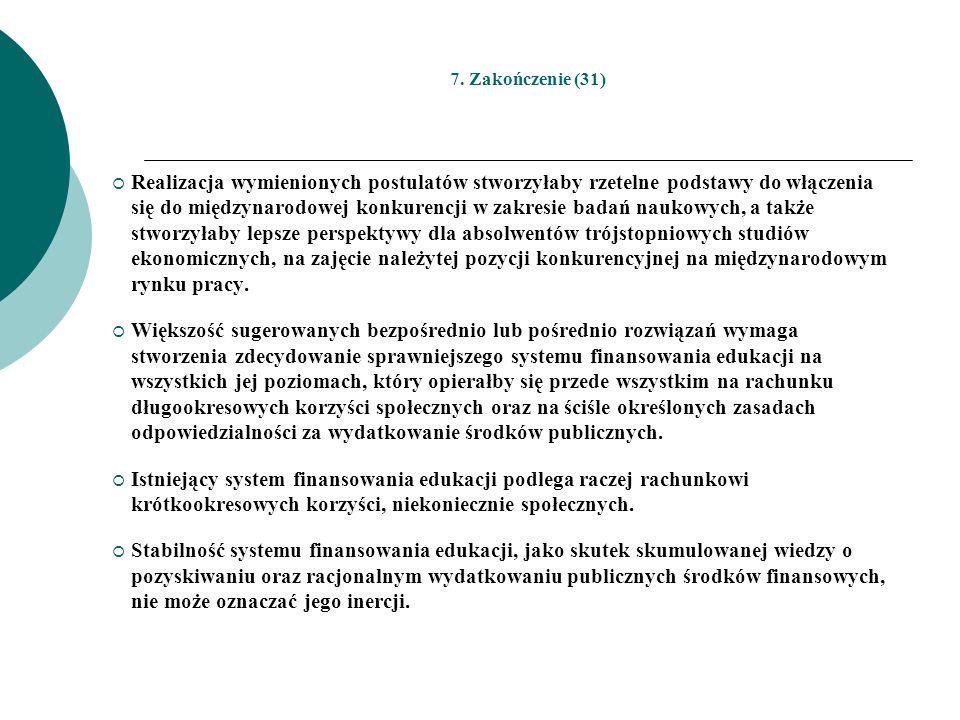 7. Zakończenie (31) Realizacja wymienionych postulatów stworzyłaby rzetelne podstawy do włączenia się do międzynarodowej konkurencji w zakresie badań