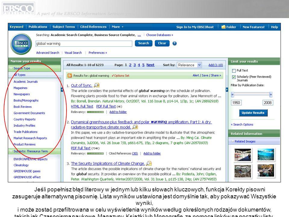 Możesz wydrukować, wysłać e-mailem, zapisać, zacytować lub eksportować pojedynczy wynik ze szczegółowego wyświetlania, klikając link w tytule.