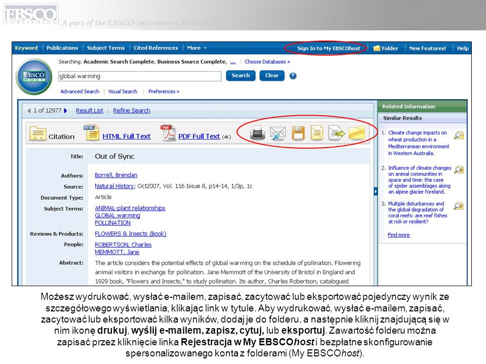 Autoryzowany plik Pojęcia tematu jest słownictwem kontrolowanym umożliwiającym bardziej efektywne przeszukiwanie bazy danych, dostępnym po kliknięciu linka Pojęcia tematu na górnym pasku narzędzi.