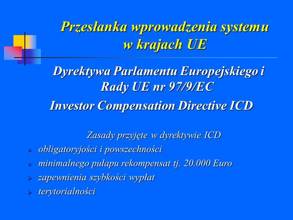 Przesłanka wprowadzenia systemu w krajach UE Dyrektywa Parlamentu Europejskiego i Rady UE nr 97/9/EC Investor Compensation Directive ICD Zasady przyję