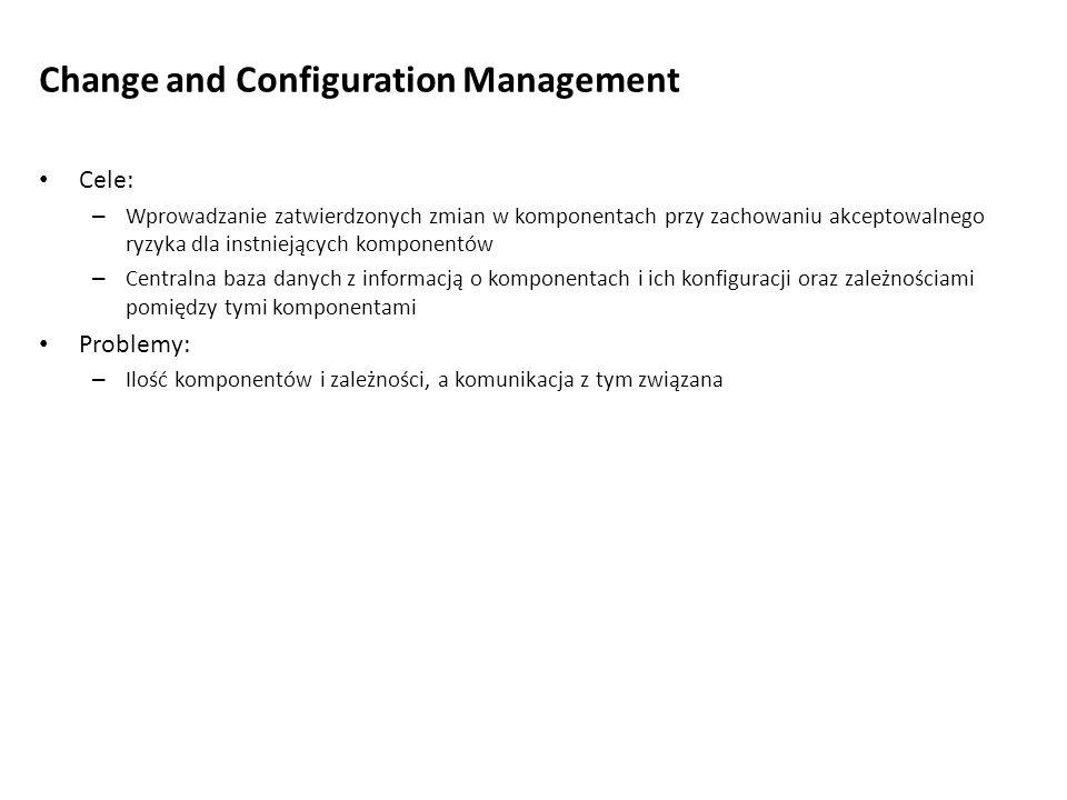 Change and Configuration Management Cele: – Wprowadzanie zatwierdzonych zmian w komponentach przy zachowaniu akceptowalnego ryzyka dla instniejących k