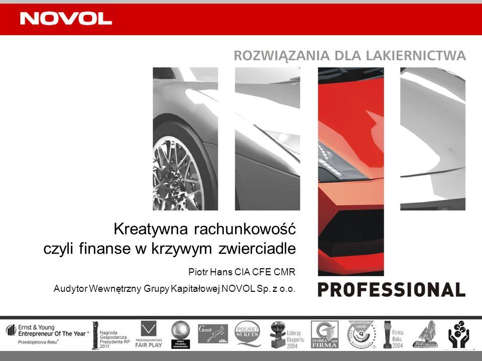 GRUPA KAPITAŁOWA NOVOL materiały dla lakiernictwa samochodowego; budownictwo sportowe i przemysłowe; szkutnictwo, kamieniarstwo, farby i lakiery dla przemysłu, ale także usługi hotelowo- gastronomiczne (Pałac Mierzęcin) obrót skonsolidowany w 2010 roku: prawie 300 mln zł zatrudnienie w grupie w 2010 roku: ponad 800 osób 7 spółek zależnych w Polsce i 3 za granicą (produkcja, handel, usługi)