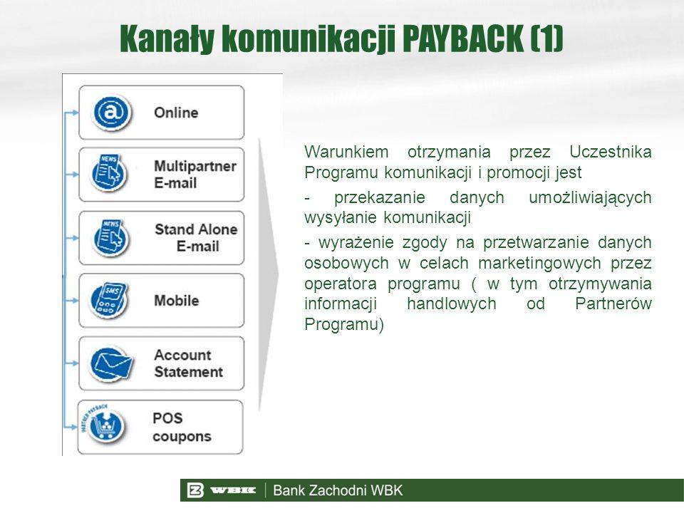 Kanały komunikacji PAYBACK (1) Warunkiem otrzymania przez Uczestnika Programu komunikacji i promocji jest - przekazanie danych umożliwiających wysyłan