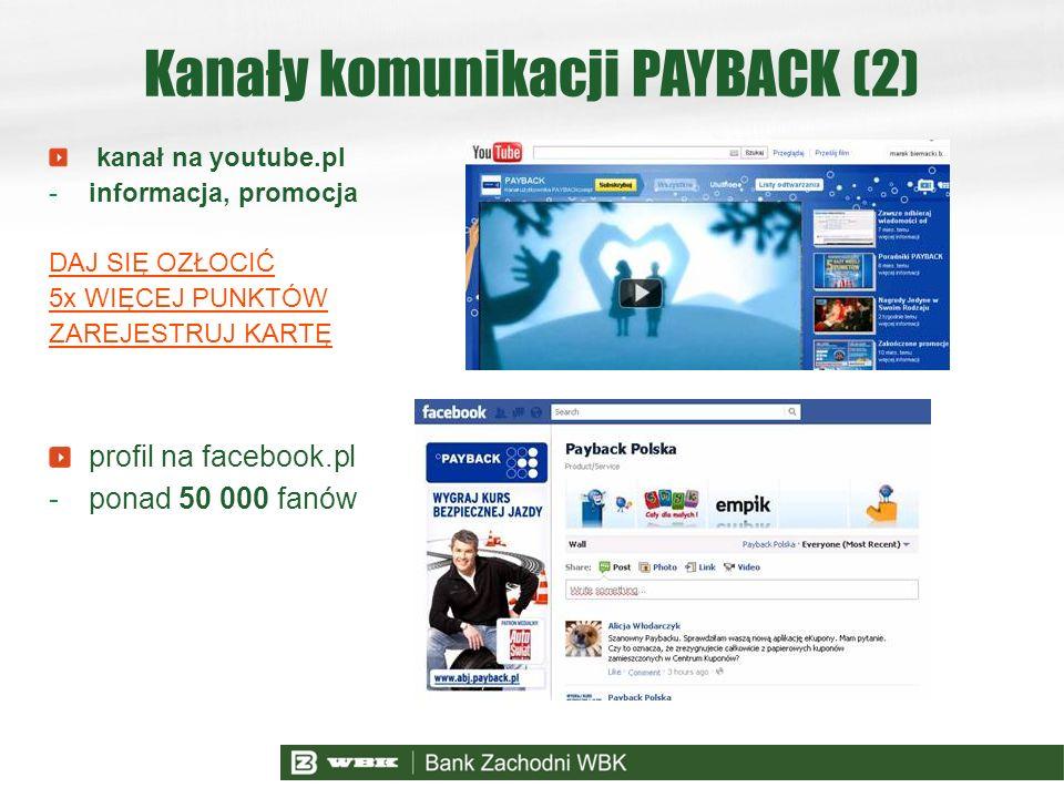 Kanały komunikacji PAYBACK (2) kanał na youtube.pl -informacja, promocja DAJ SIĘ OZŁOCIĆ 5x WIĘCEJ PUNKTÓW ZAREJESTRUJ KARTĘ profil na facebook.pl -po